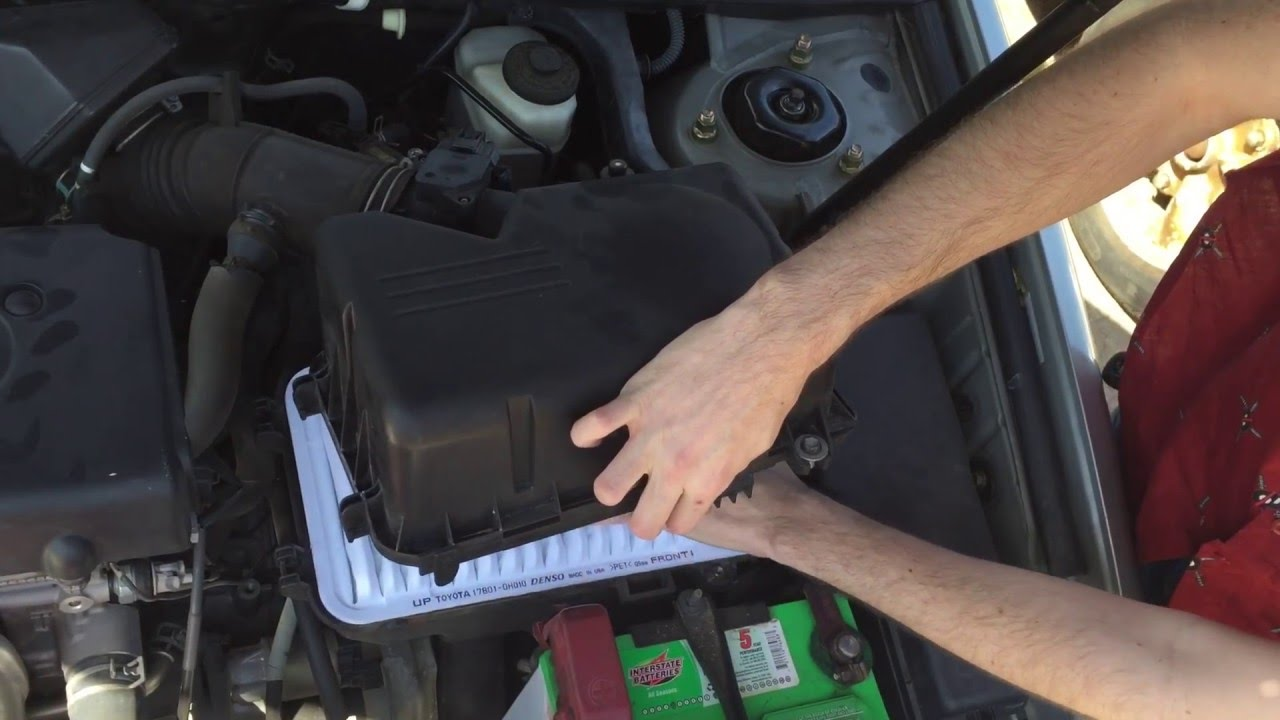 how to change your toyota camry 2002 2006 engine air filter [ 1280 x 720 Pixel ]