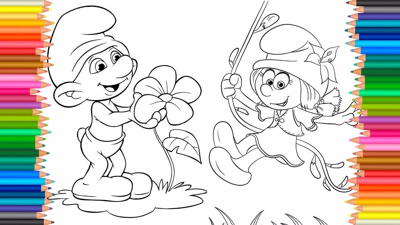 the smurfs coloring pages for kids to learn colors learning