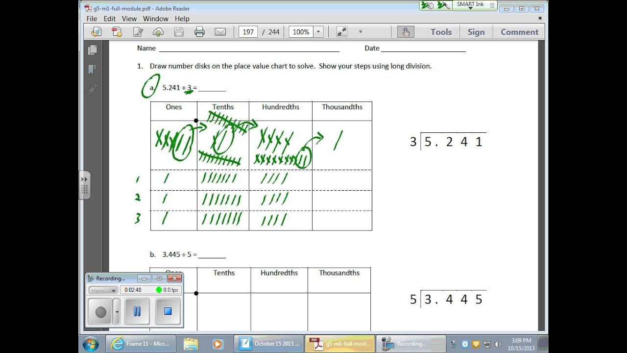 October 15 Math Module 1 Lesson 14 Division With Decimals