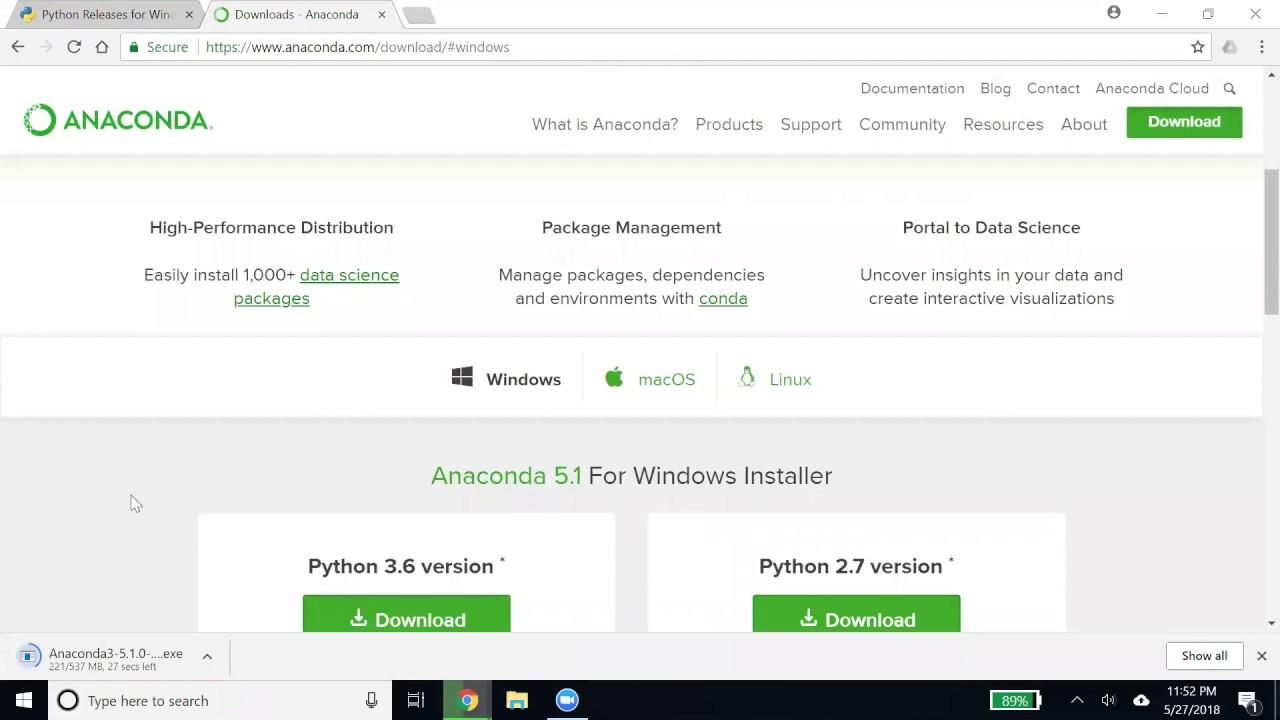 python anaconda download windows