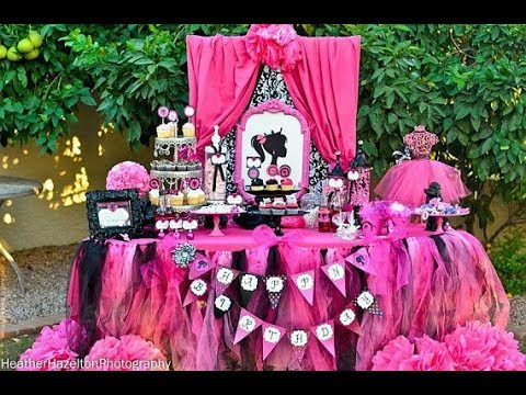 Fiesta de barbie party 2017 fiestas infantiles decoracion for Decoracion para mesa dulce