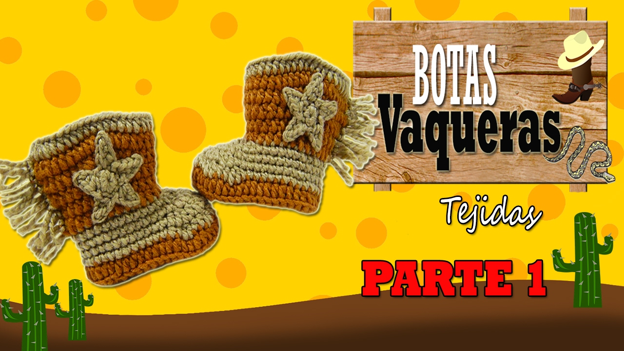 Botas vaqueras tejidas a crochet, cowboy | parte 1/2 - YouTube