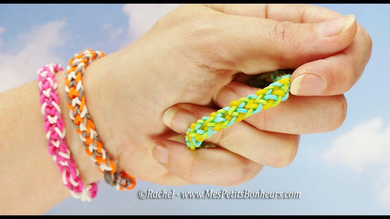 Bracelets br siliens en lastiques faire avec les doigts facile youtube - Comment faire des bracelets en elastique ...
