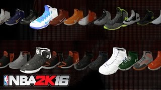 NBA 2K16 - All New Shoes, Jordan, Nike, Adidas, Under Armour (Sneaker Brands Showcase)