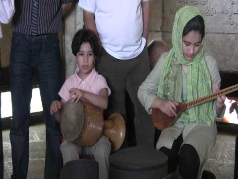 Incredible 6 year old girl plays Persian classical music with sister  in Baba taher tomb