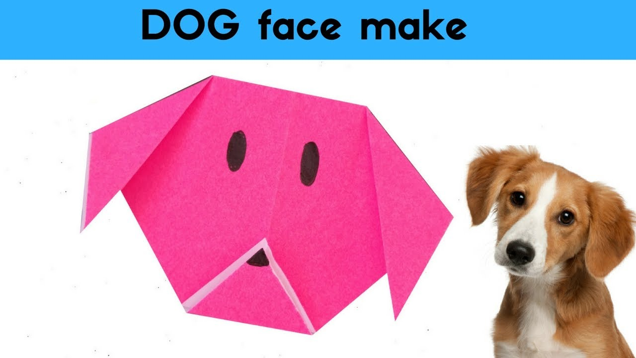 Origami dog face how to origami - Simple Paper Dog Face Make An Origami Dog Face Animals With Kids Craft Diagrams For Children