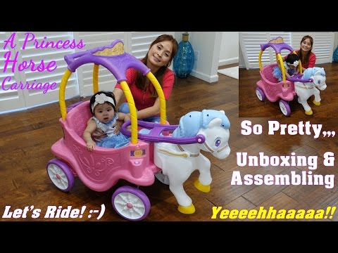Family Toy Channel: Little Tikes Princess Horse Carriage Ride-On Unboxing, Assembling and Playtime