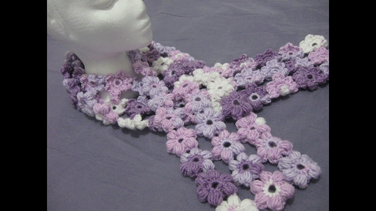 Crochet Flower Puff Pattern : Crochet Puff Stitch Flower Scarf - Left Handed Crochet ...