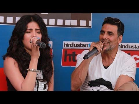 'Gabbar is Back' stars Akshay Kumar and Shruti Haasan showcase their singing talents