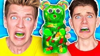 Tasting, Trying, & react to making and mixing every sour candy together into the worlds sourest diy giant candy gummy bear challenge w/ warheads and toxic ...