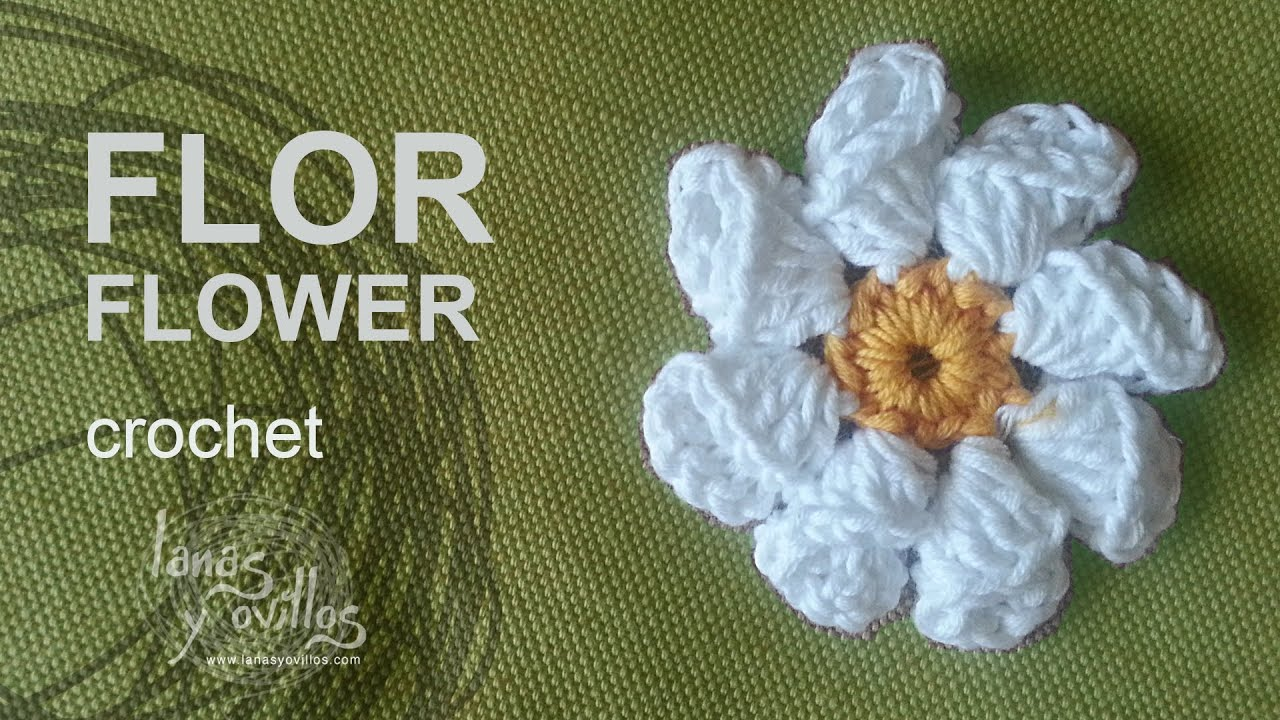 Ganchillo : Tutorial Flor Crochet o Ganchillo - YouTube