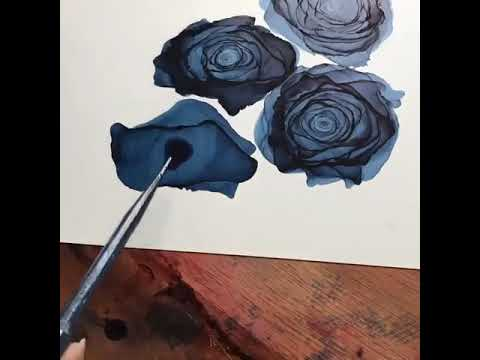 Drawing Roses Using Water Colors And Hair Dryer