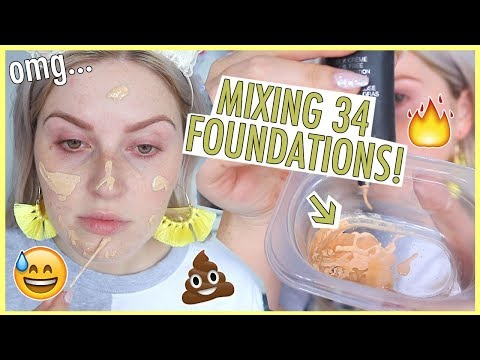 MIXING ALL MY LIQUID FOUNDATION TOGETHER ⁉️🙄 Wow...