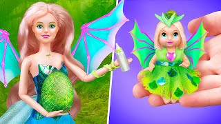 Barbie Dragon and Her Baby / 10 Miniature Barbie Doll DIYs
