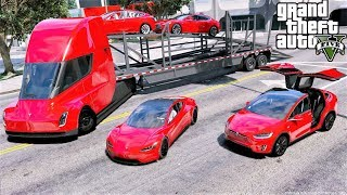 GTA 5 Real Life Mod #123 Self Driving Tesla Semi Truck Delivering Teslas To The Tesla Car Dealership