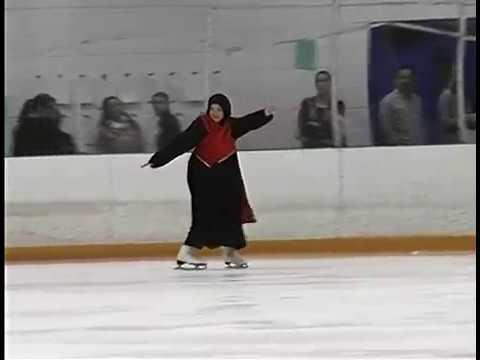 12 Year Old Sakina Ice Skating in Hijab