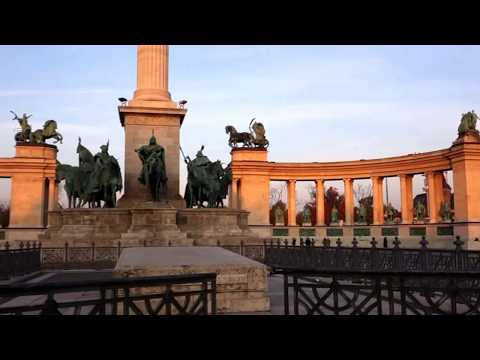 Heroes Square in Budapest, Hungary and Andrássy Avenue. History Tour.