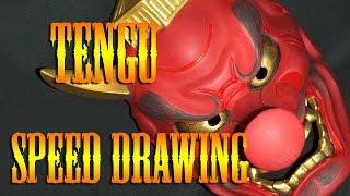 Speed drawing of Japanese Tengu bodysuit tattoo