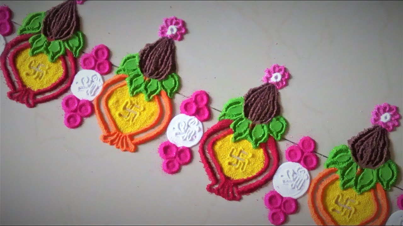 Super Easy Kalash Border Rangoli Designs Using Bangles