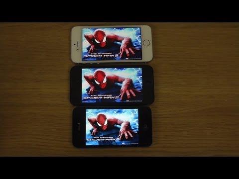 The Amazing Spider Man 2 iPhone 5S vs. iPhone 5 vs. iPhone 4S iOS 7.1.1 Gameplay Comparison