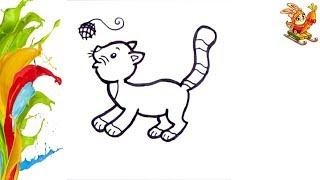 Раскраска для детей КОТЕНОК / Как нарисовать КОТЕНКА за две минуты / Учим цвета