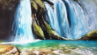Watercolor Waterfall Painting Demonstration
