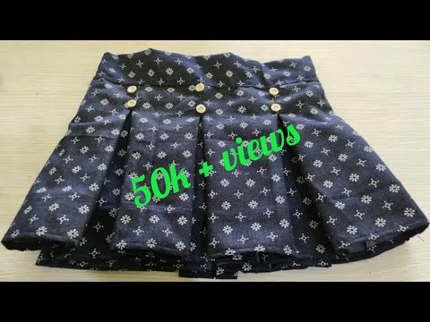 Box pleated skirt cutting and stitching | Baby skirt design | short skirt