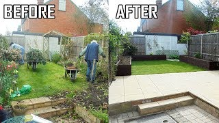Small Garden Makeover, Slab Patio, Raised Timber Planters, Turfing New Lawn. Stonemason Landscapes