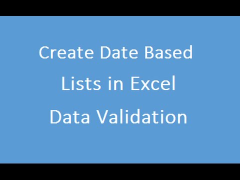 Date Based Lists in Excel