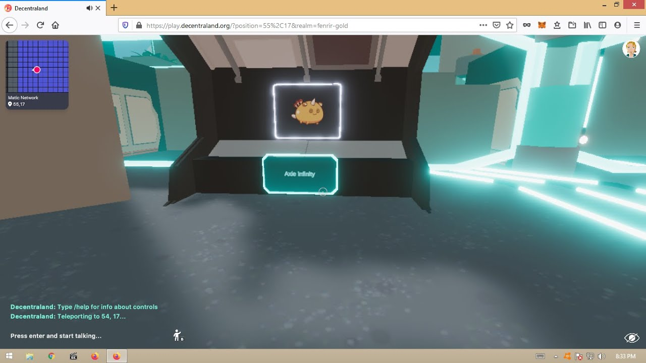 Axie Infinity Section in Matic Estate, Decentraland