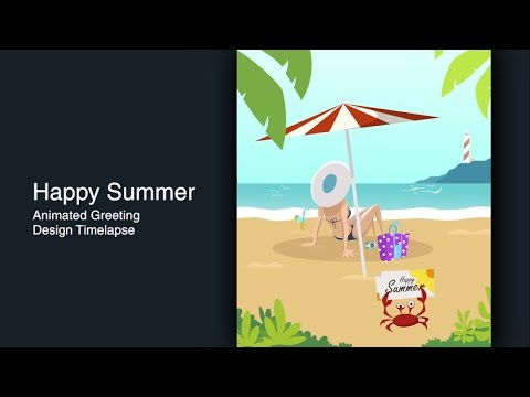 Adobe Illustrator CC Design Time lapse - Happy Summer Animated Greeting