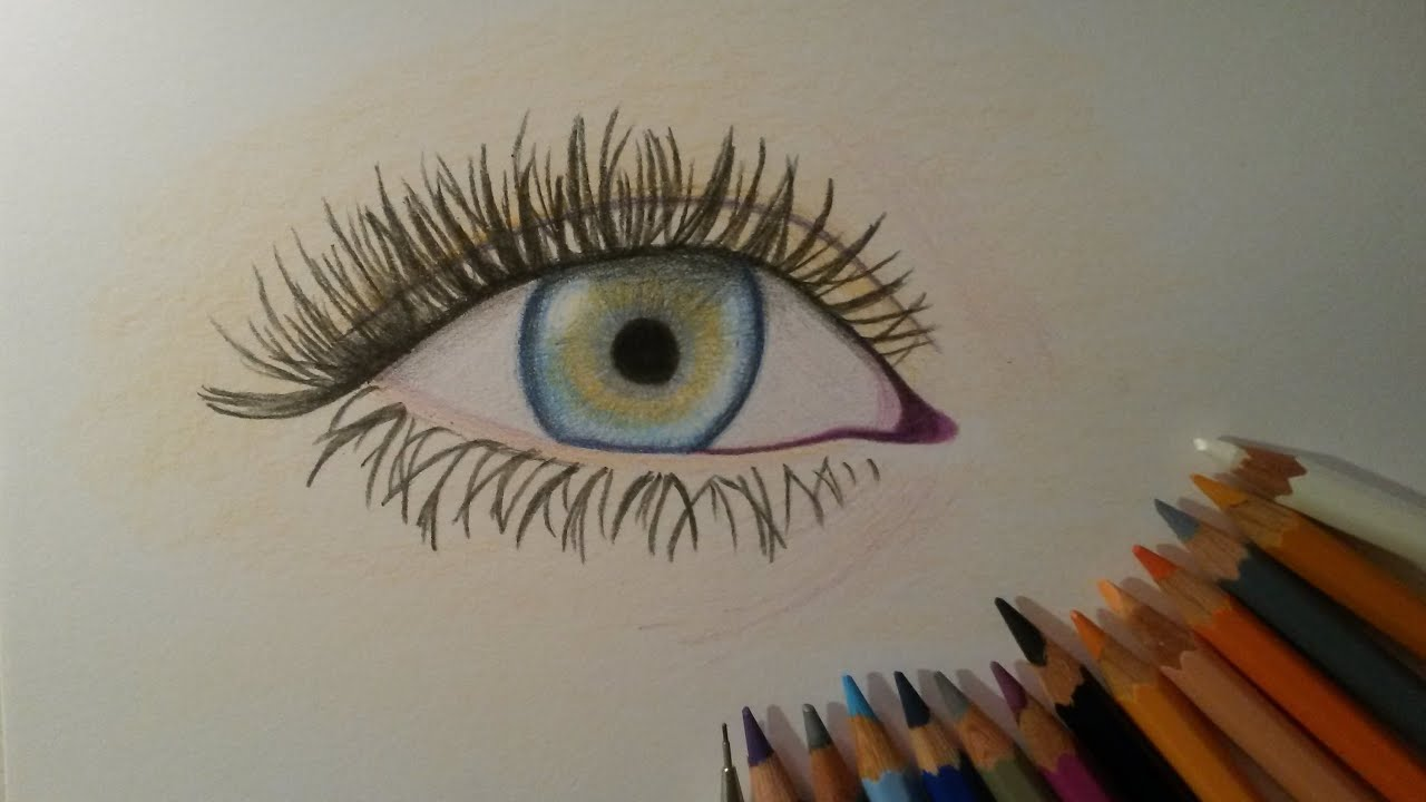 Draw Eye With Colored Pencils Easy