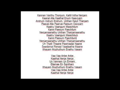 VAA VAA ANBE ANBE..KARAOKE WITH MALE VOCALS BY ANEESH JOSEPH