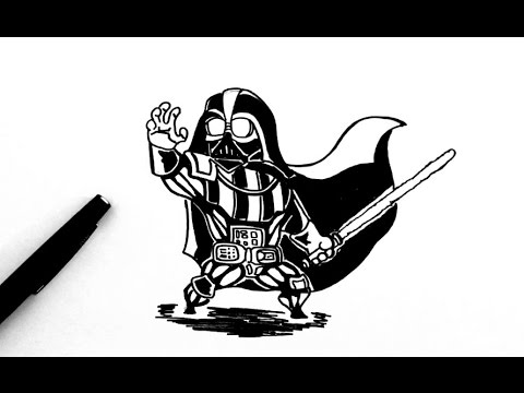 How To Draw Dark Vador Chibi Star Wars