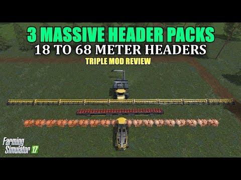 "Farming Simulator 17 - 3 Massive Header Packs ""Mod Review"""