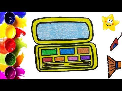 Рисунок, раскраска для детей КОСМЕТИКА. Мультик - Раскраска. Учим цвета. Стихи для детей.