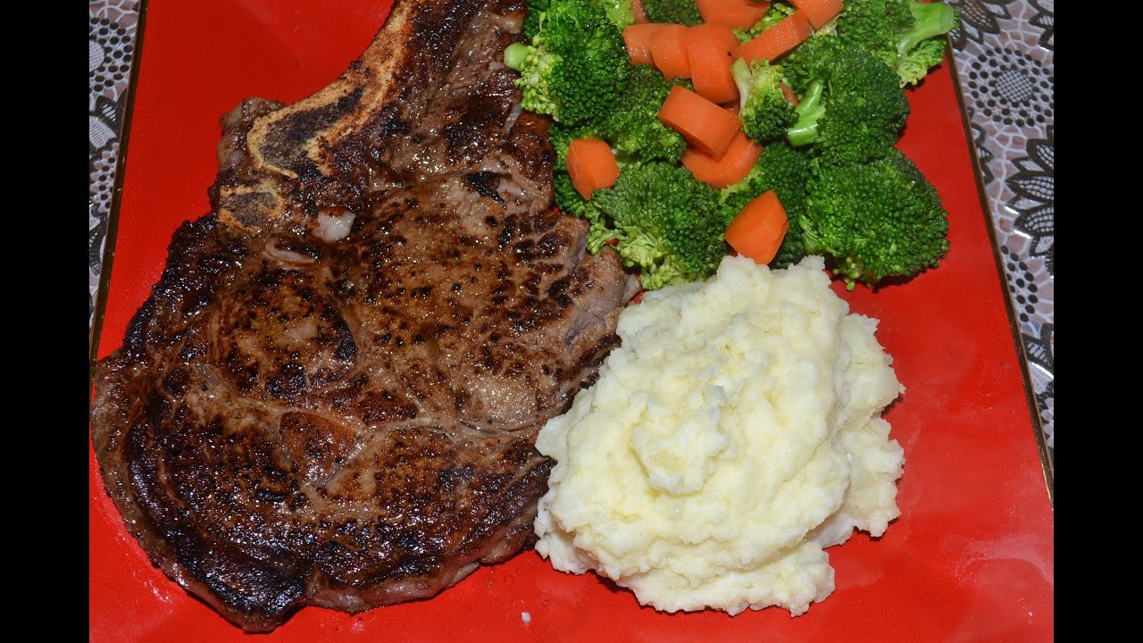 Cena rica y muy barata ribeye steak with mashed potatoes and steamed vegetables youtube - Comidas para cenas familiares ...