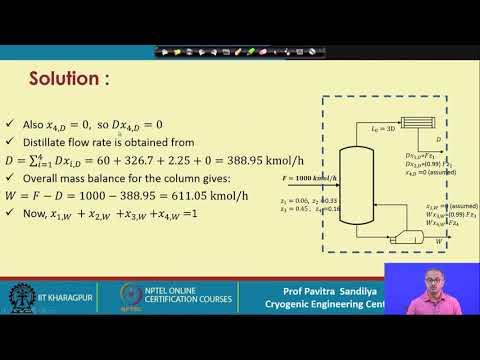 Lecture 62: Tutorial On Multicomponent Distillation -I