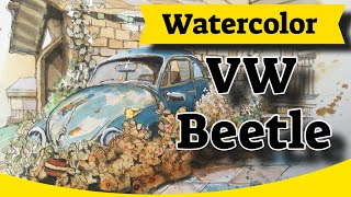 How to paint a VW Beetle in watercolor and brush pens
