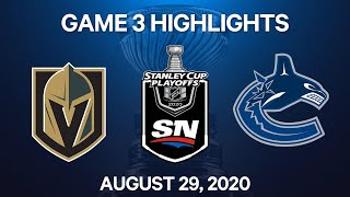 NHL Highlights   2nd Round, Game 3: Golden Knights vs. Canucks – Aug. 29, 2020
