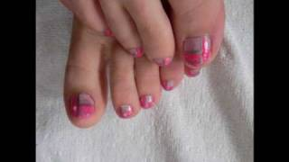Cute pink and silver pedicure tutorial