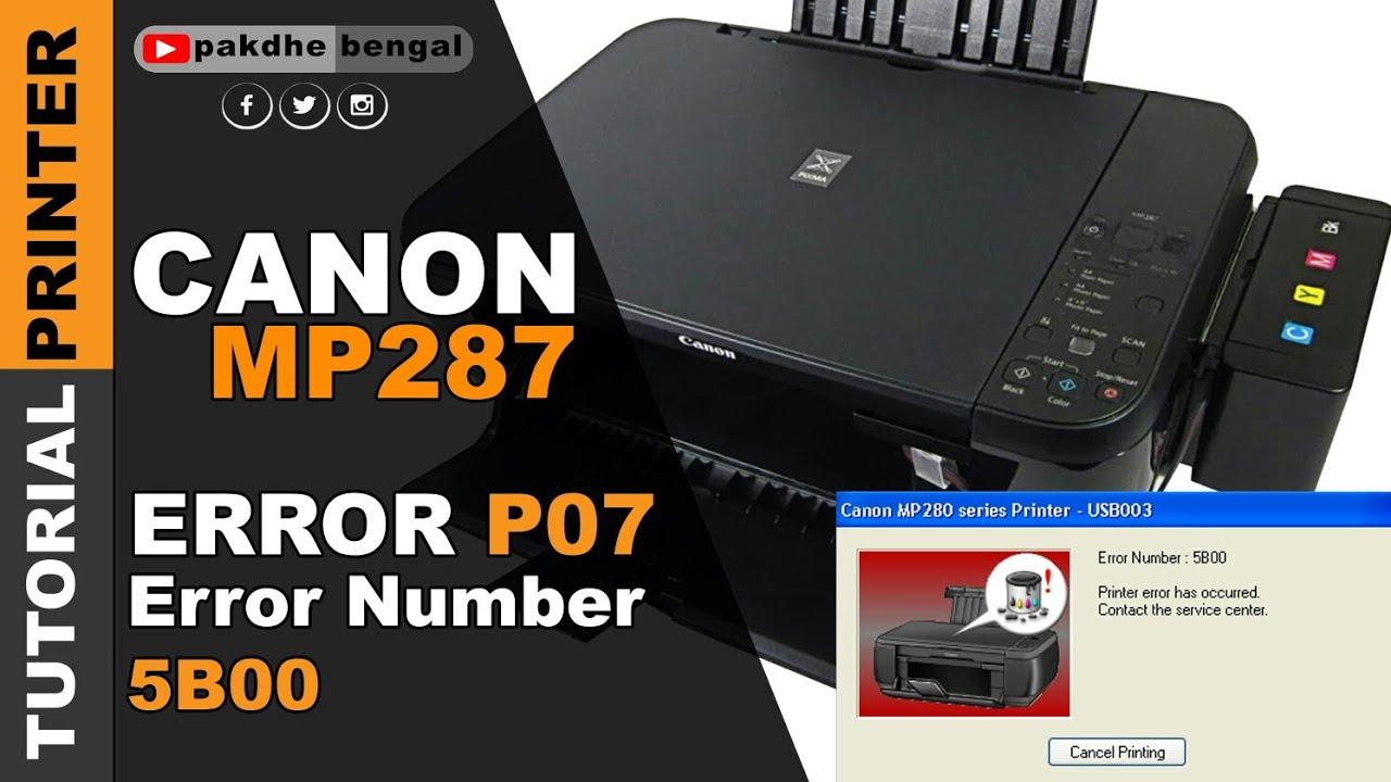 Canon mp287 printer error 5b00