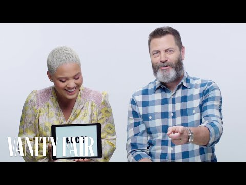 Nick Offerman Learns Millennial Slang From Kiersey Clemons  Vanity Fair