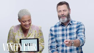 Nick Offerman Learns Millennial Slang From Kiersey Clemons | Vanity Fair