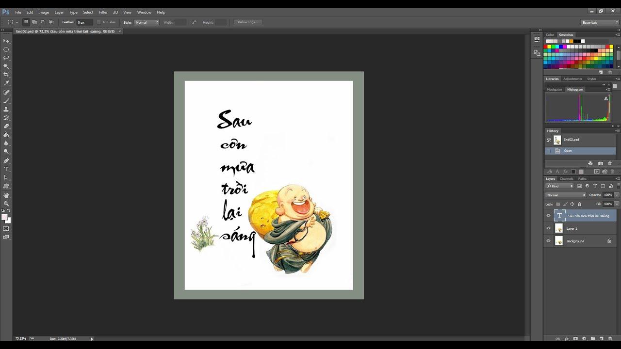 Học Photoshop cơ bản | Viết chữ thư pháp lên ảnh