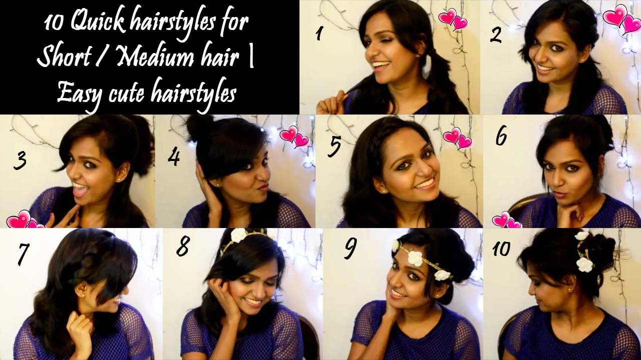 how to: 10 quick no heat hairstyles for short / medium hair | easy