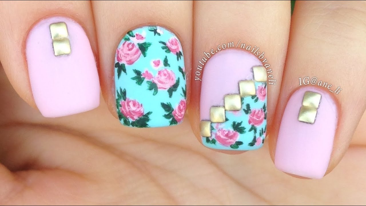 Nail art tutorial vintage floral mix match youtube prinsesfo Image collections