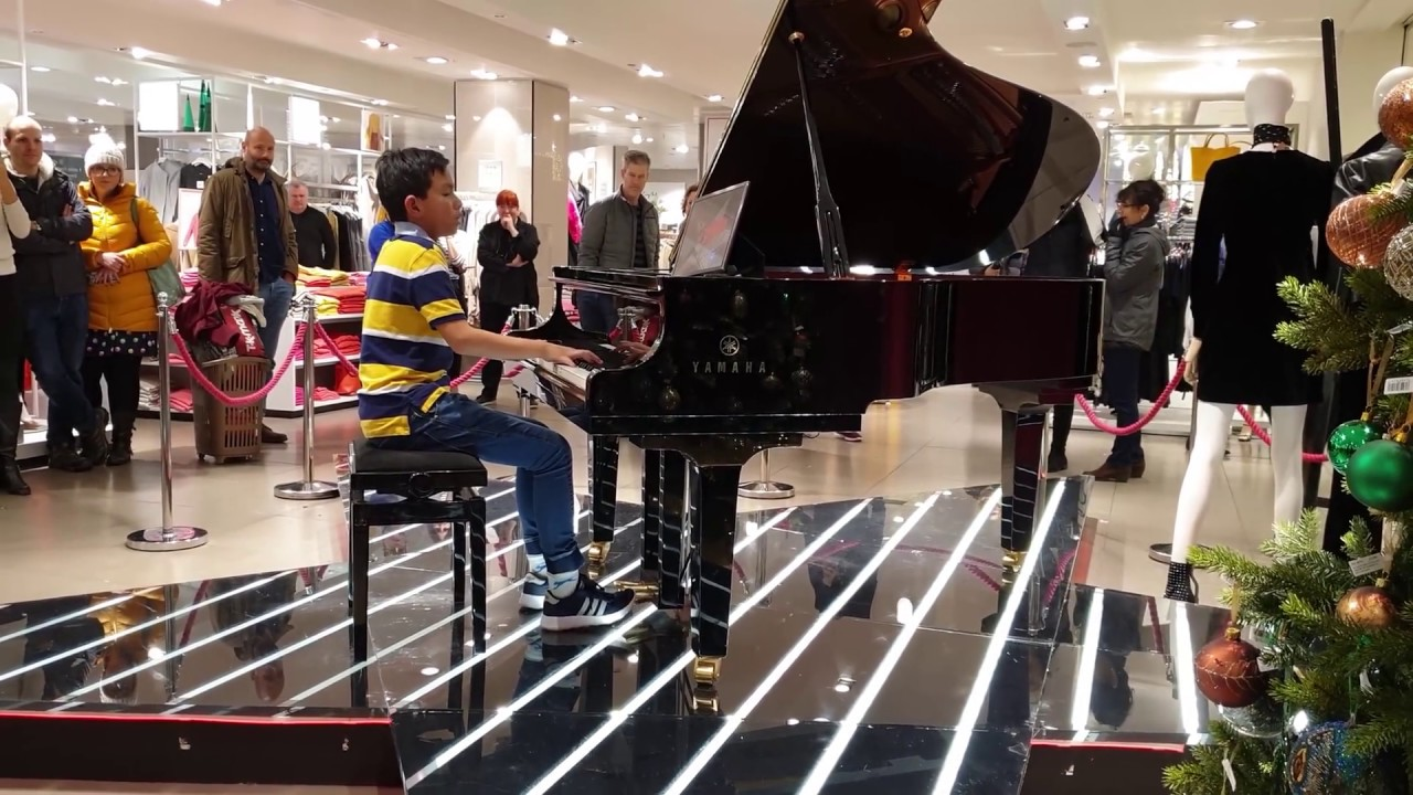 Queen Bohemian Rhapsody at John Lewis Oxford Street - Piano Cover 11 Years Old