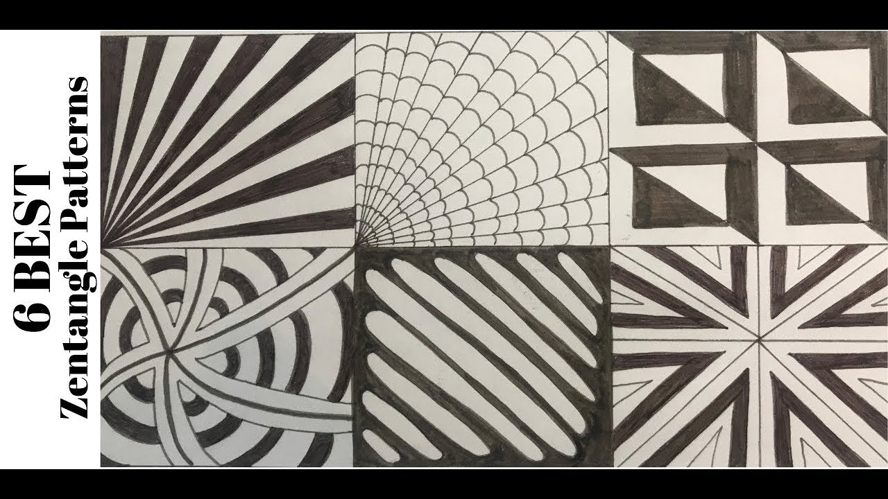 6 Zentangle Patterns For Beginners, How To Draw Easy Doodle Art Tutorial  Drawing 34-39