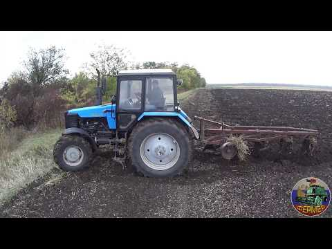 Пахота зяби трактором МТЗ-1221.2 с плугом ПЛН-5-35